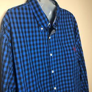 3XL U.S. POLO ASSN Black Blue Gingham Button Down